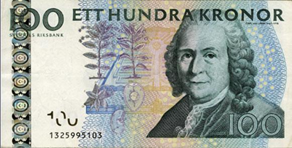 Billete 100 coronas suecas CARL LINNAEUS (y II)